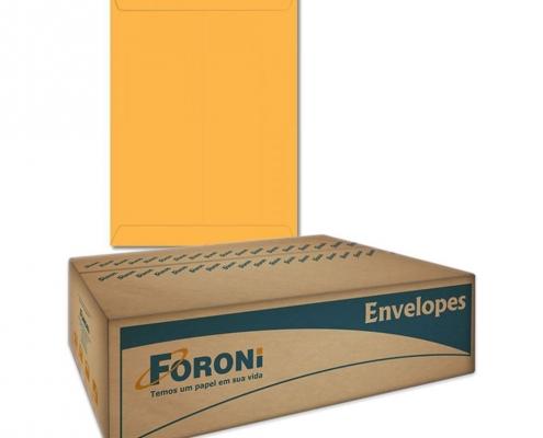 Envelope Saco Kraft Ouro 80g 310x410 Caixa com 100 Envelopes Foroni