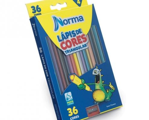 Lápis de Cor 36 cores Triangular Ponta Grossa Norma
