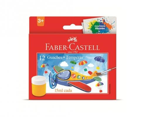 Tinta Guache 15ml com 12 cores Faber-Castell