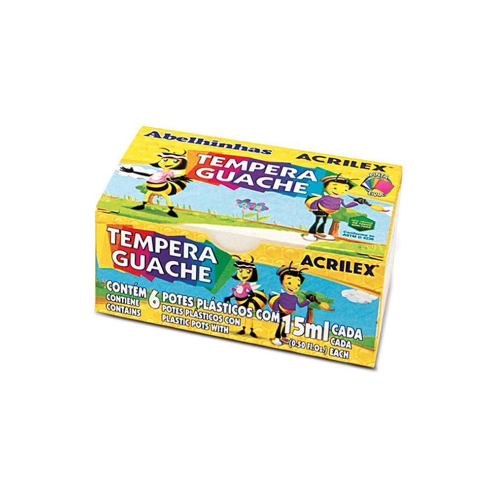 Tinta Tempera Guache 6 Cores 15ml Acrilex