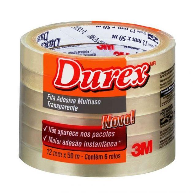 Fita Adesiva Durex Transparente 12x50 com 6 rolos 3M